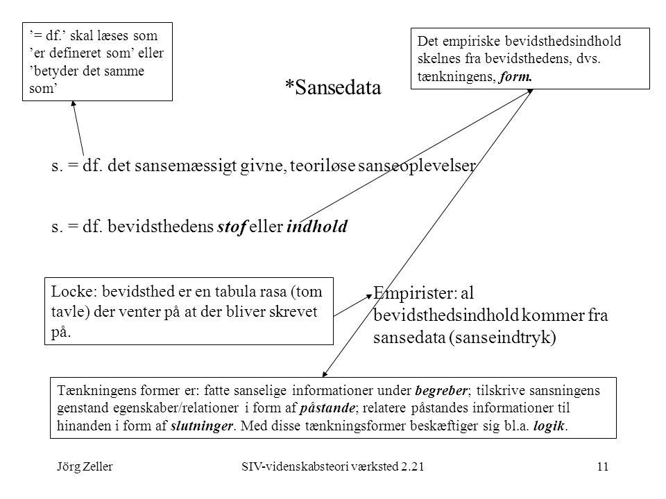 Jörg ZellerSIV-videnskabsteori værksted 2.2111 *Sansedata s.
