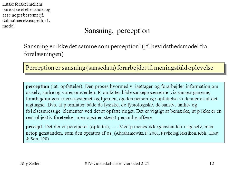 Jörg ZellerSIV-videnskabsteori værksted 2.2112 Sansning, perception Sansning er ikke det samme som perception.