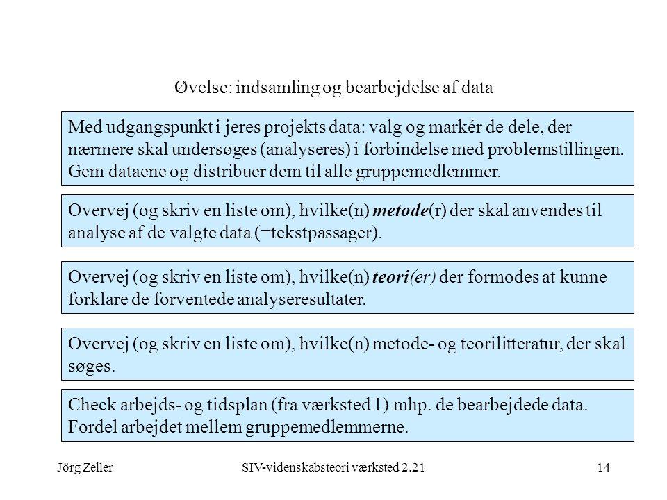 Jörg ZellerSIV-videnskabsteori værksted 2.2114 Øvelse: indsamling og bearbejdelse af data Med udgangspunkt i jeres projekts data: valg og markér de dele, der nærmere skal undersøges (analyseres) i forbindelse med problemstillingen.