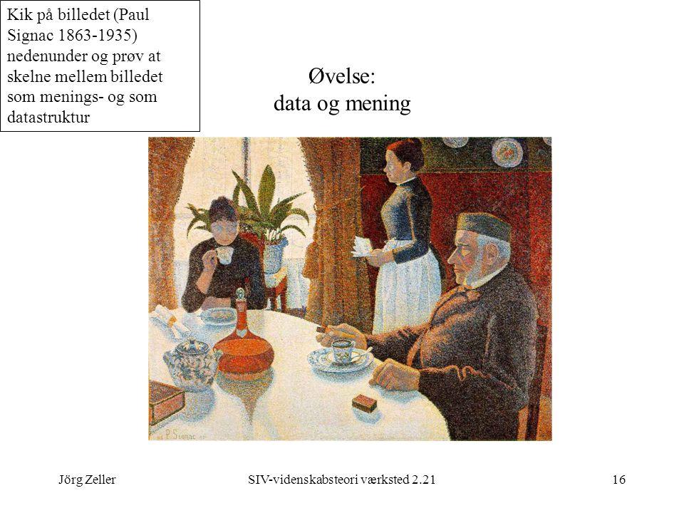Jörg ZellerSIV-videnskabsteori værksted 2.2116 Øvelse: data og mening Kik på billedet (Paul Signac 1863-1935) nedenunder og prøv at skelne mellem billedet som menings- og som datastruktur