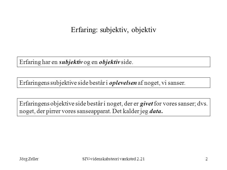 Jörg ZellerSIV-videnskabsteori værksted 2.212 Erfaring: subjektiv, objektiv Erfaring har en subjektiv og en objektiv side.