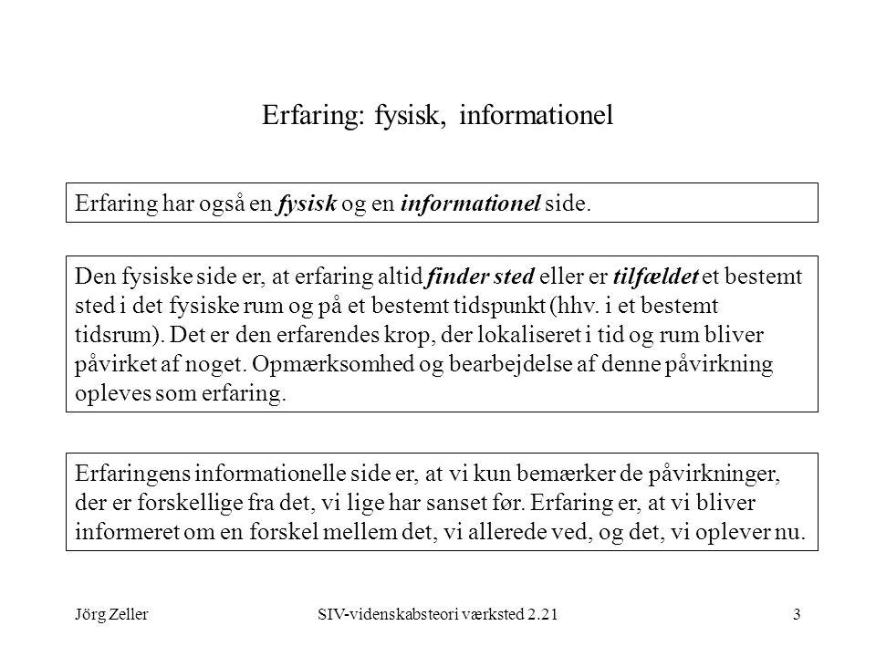 Jörg ZellerSIV-videnskabsteori værksted 2.213 Erfaring: fysisk, informationel Erfaring har også en fysisk og en informationel side.