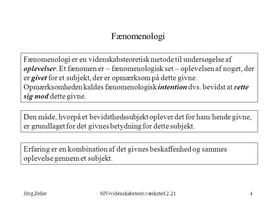Jörg ZellerSIV-videnskabsteori værksted 2.214 Fænomenologi Fænomenologi er en videnskabsteoretisk metode til undersøgelse af oplevelser.