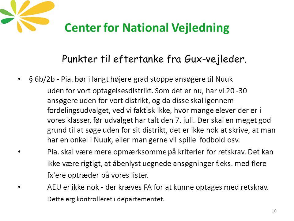 Center for National Vejledning Punkter til eftertanke fra Gux-vejleder.