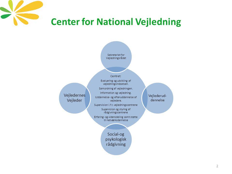 Centret: Evaluering og udvikling af vejledningsindsatsen.