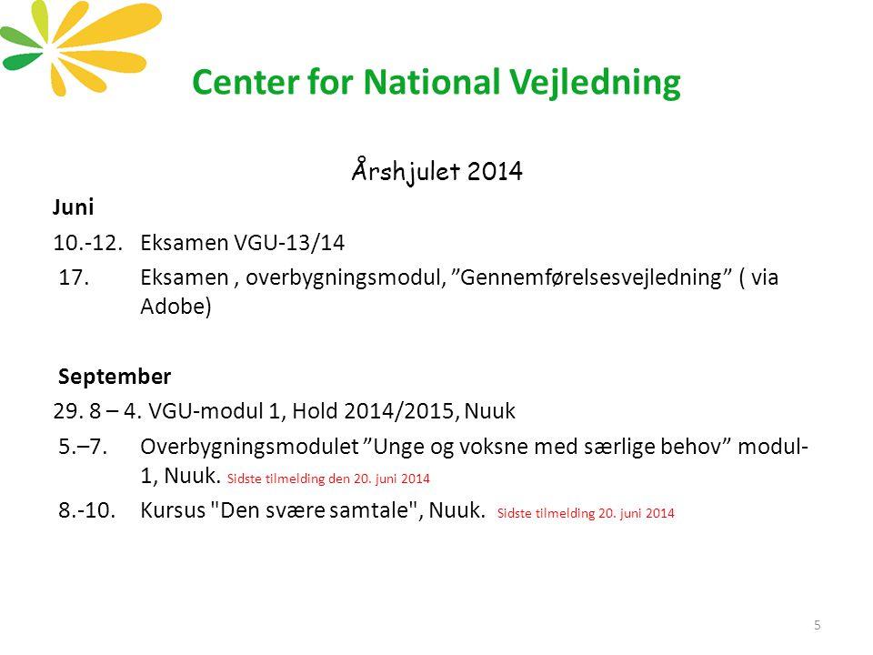 Center for National Vejledning Årshjulet 2014 Juni 10.-12.Eksamen VGU-13/14 17.Eksamen, overbygningsmodul, Gennemførelsesvejledning ( via Adobe) September 29.