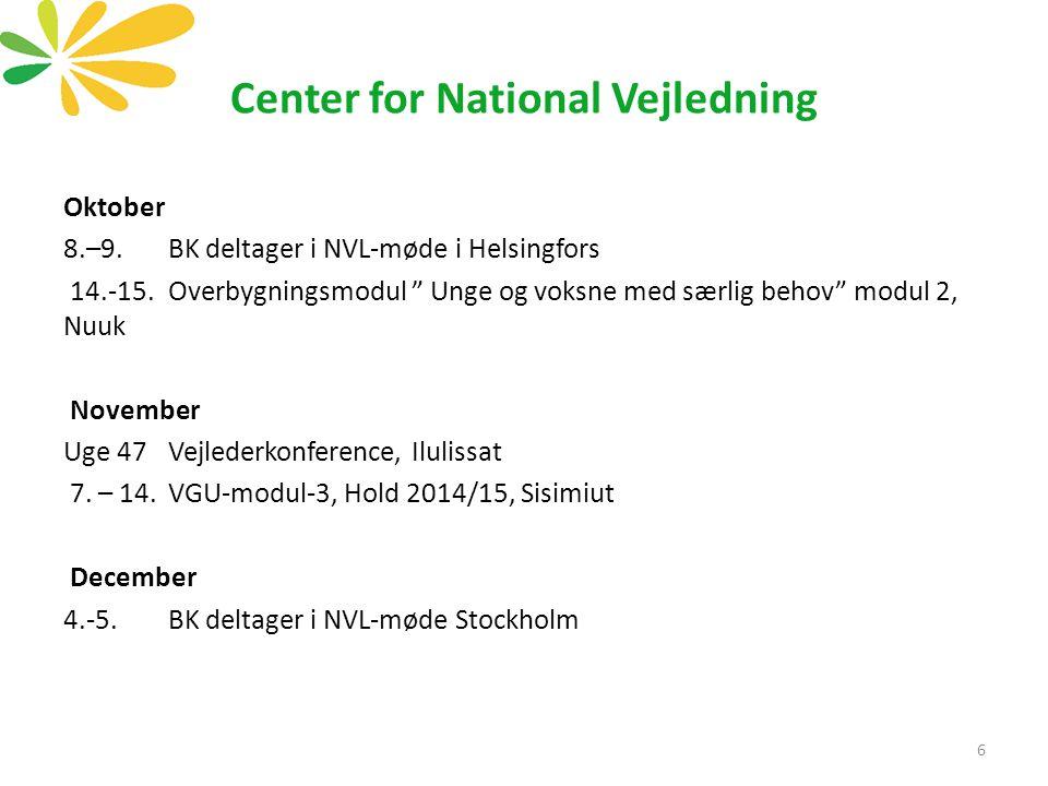 Center for National Vejledning Oktober 8.–9.BK deltager i NVL-møde i Helsingfors 14.-15.Overbygningsmodul Unge og voksne med særlig behov modul 2, Nuuk November Uge 47 Vejlederkonference, Ilulissat 7.