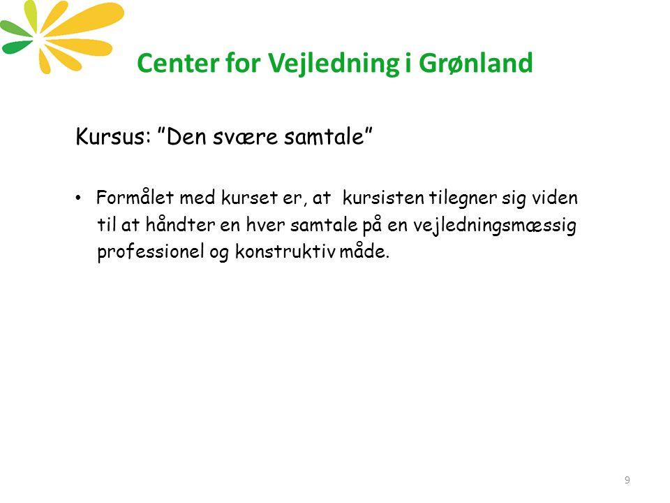 Center for Vejledning i Grønland Kursus: Den svære samtale Formålet med kurset er, at kursisten tilegner sig viden til at håndter en hver samtale på en vejledningsmæssig professionel og konstruktiv måde.