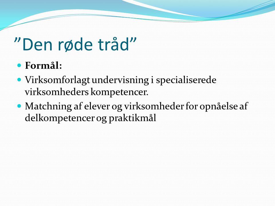 Den røde tråd Formål: Virksomforlagt undervisning i specialiserede virksomheders kompetencer.