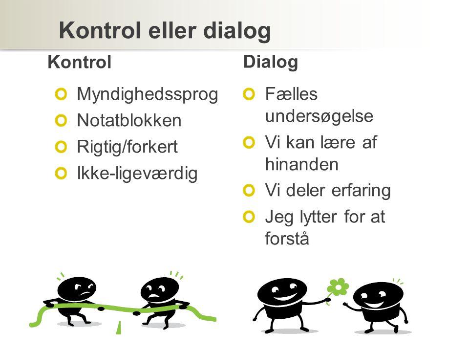 Kontrol eller dialog Kontrol Myndighedssprog Notatblokken Rigtig/forkert Ikke-ligeværdig Dialog Fælles undersøgelse Vi kan lære af hinanden Vi deler erfaring Jeg lytter for at forstå