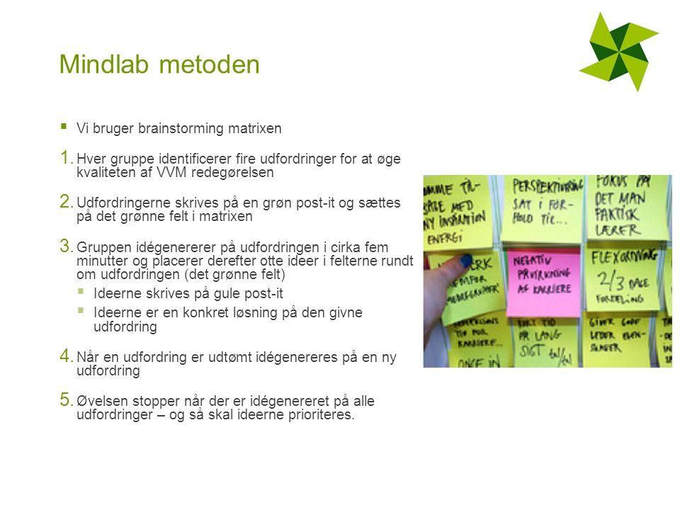 Mindlab metoden  Vi bruger brainstorming matrixen 1.