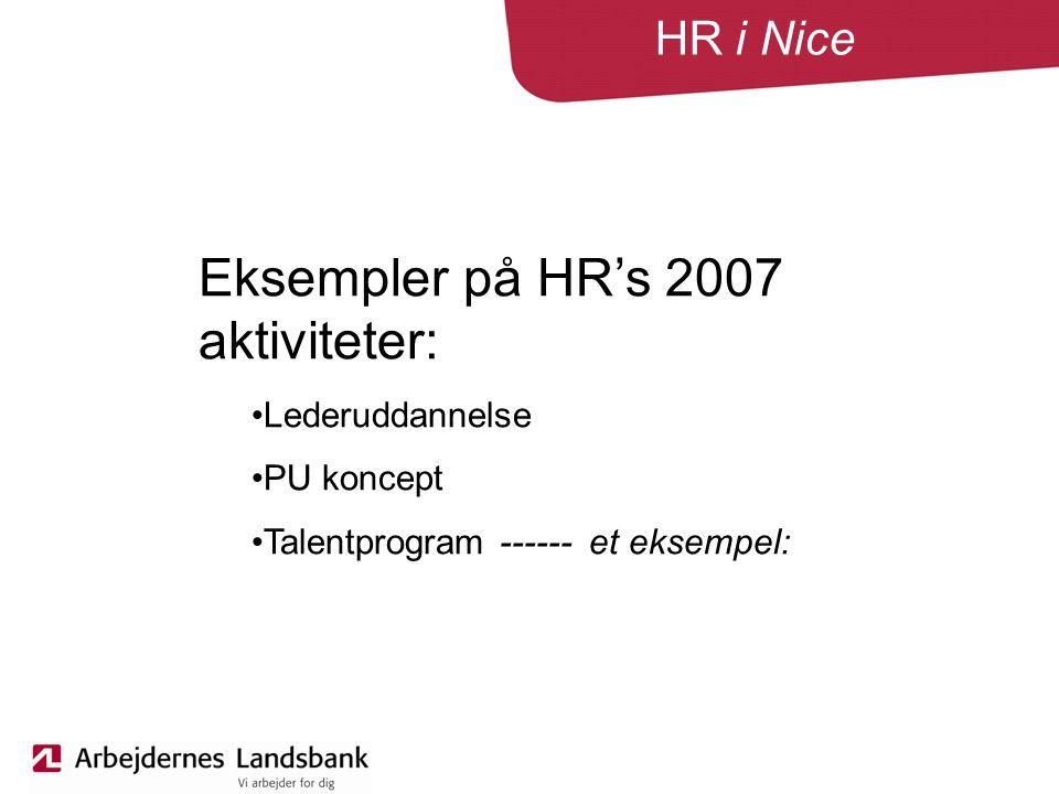 HR i Nice Eksempler på HR's 2007 aktiviteter: Lederuddannelse PU koncept Talentprogram ------ et eksempel: