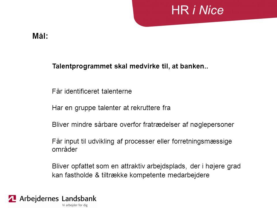 HR i Nice Talentprogrammet skal medvirke til, at banken..