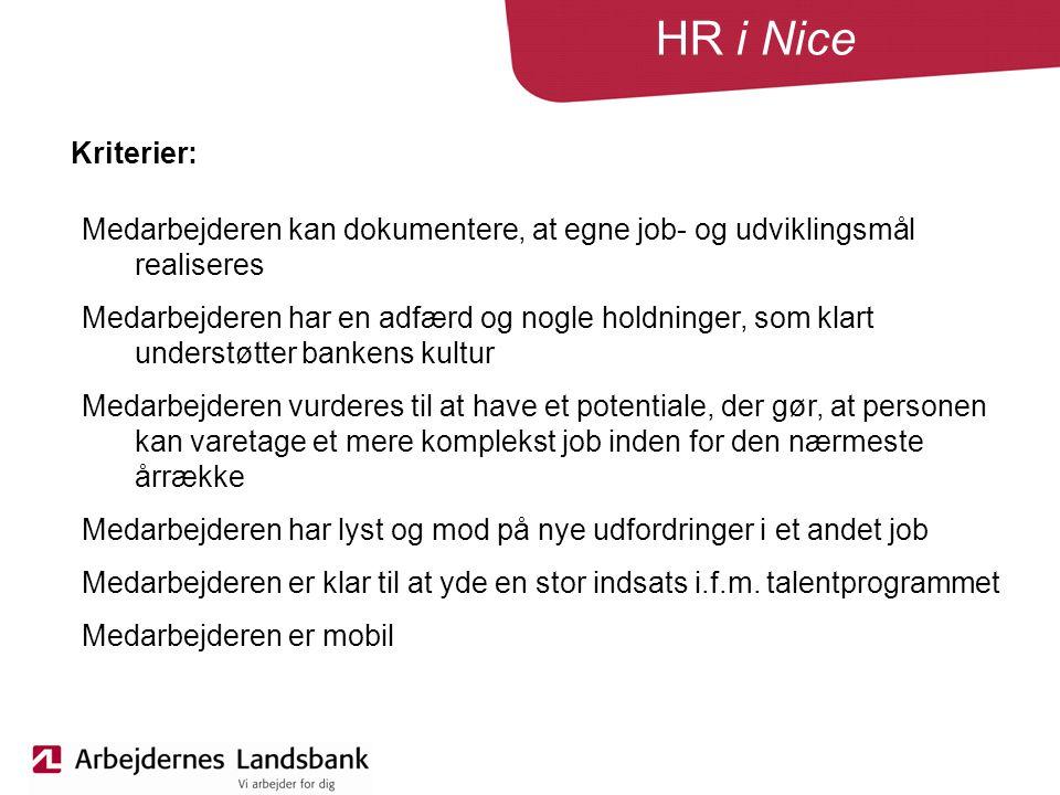HR i Nice Kriterier: Medarbejderen kan dokumentere, at egne job- og udviklingsmål realiseres Medarbejderen har en adfærd og nogle holdninger, som klart understøtter bankens kultur Medarbejderen vurderes til at have et potentiale, der gør, at personen kan varetage et mere komplekst job inden for den nærmeste årrække Medarbejderen har lyst og mod på nye udfordringer i et andet job Medarbejderen er klar til at yde en stor indsats i.f.m.