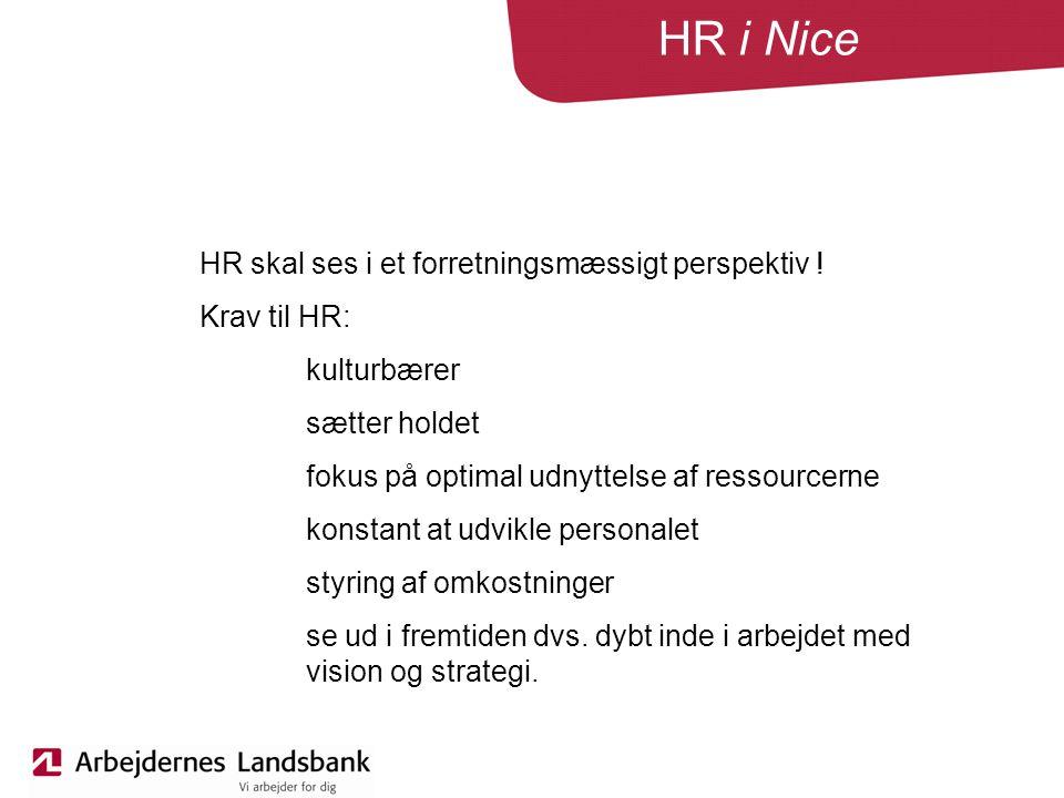 HR i Nice HR skal ses i et forretningsmæssigt perspektiv .
