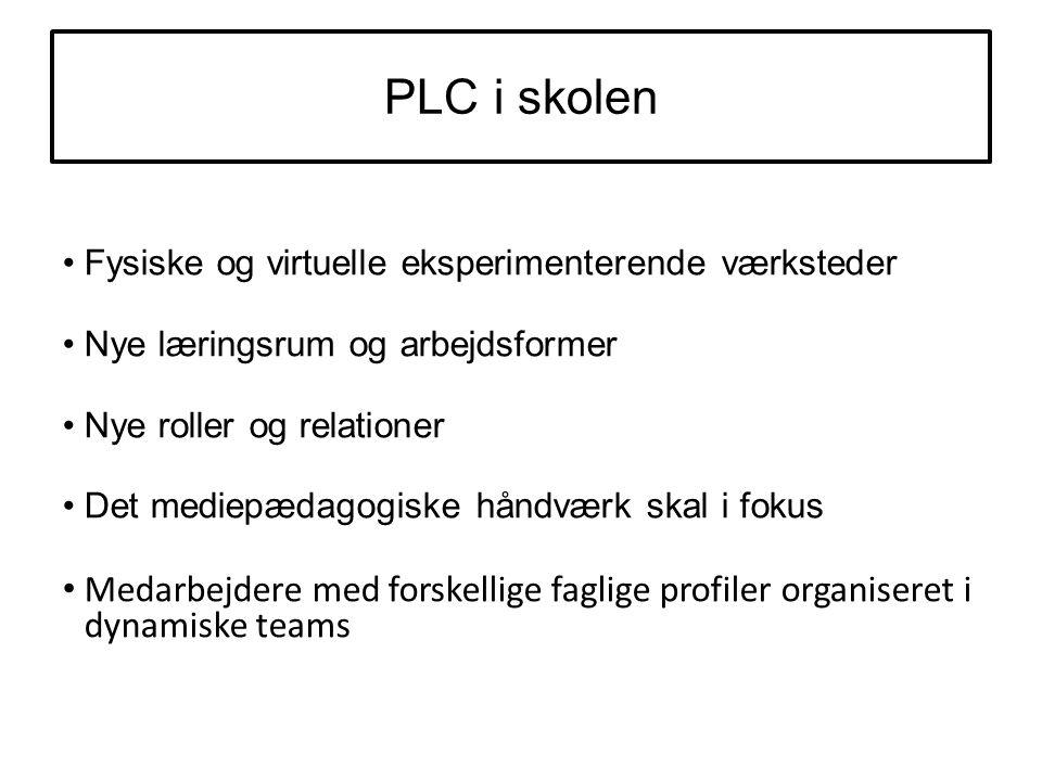 PLC i skolen Fysiske og virtuelle eksperimenterende værksteder Nye læringsrum og arbejdsformer Nye roller og relationer Det mediepædagogiske håndværk skal i fokus Medarbejdere med forskellige faglige profiler organiseret i dynamiske teams