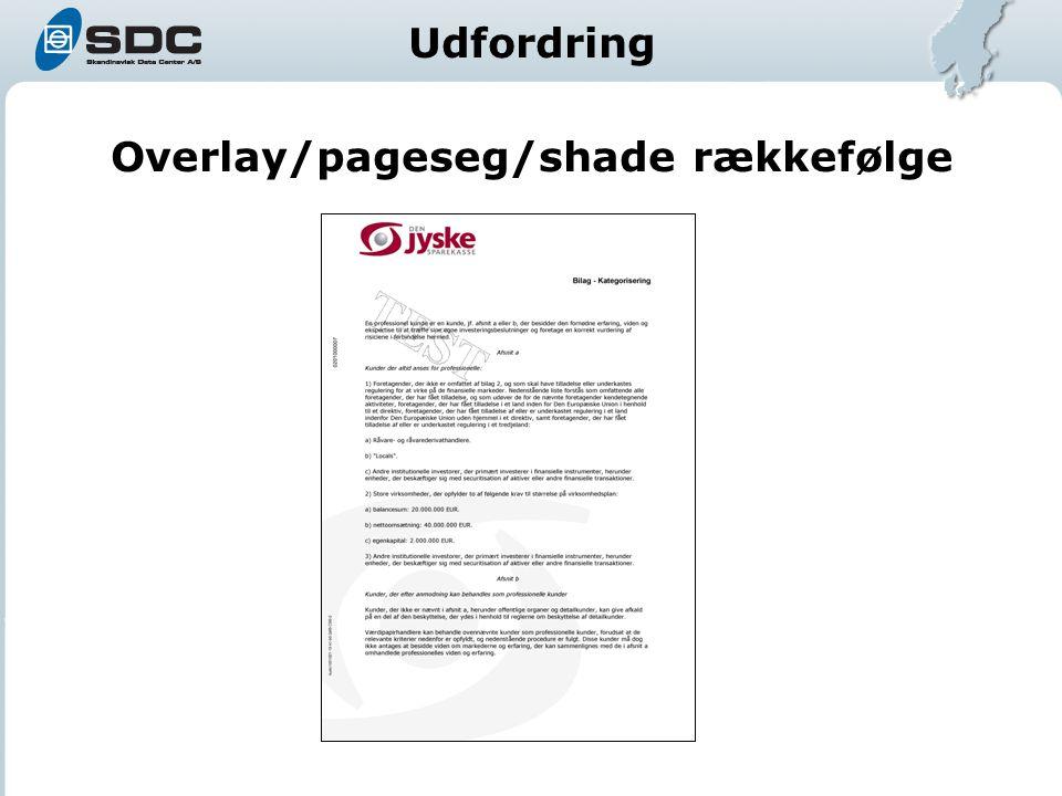 Overlay/pageseg/shade rækkefølge Udfordring