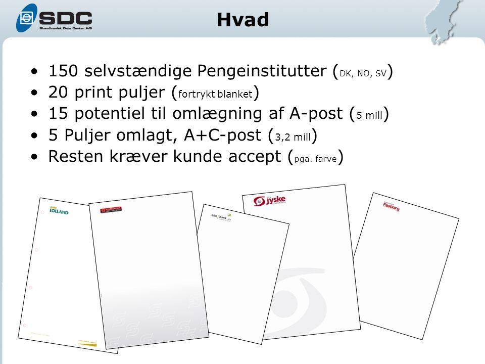 Hvad 150 selvstændige Pengeinstitutter ( DK, NO, SV ) 20 print puljer ( fortrykt blanket ) 15 potentiel til omlægning af A-post ( 5 mill ) 5 Puljer omlagt, A+C-post ( 3,2 mill ) Resten kræver kunde accept ( pga.
