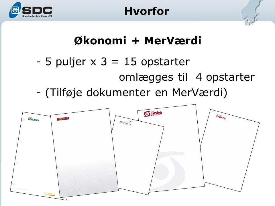 Økonomi + MerVærdi - 5 puljer x 3 = 15 opstarter omlægges til 4 opstarter - (Tilføje dokumenter en MerVærdi) Hvorfor