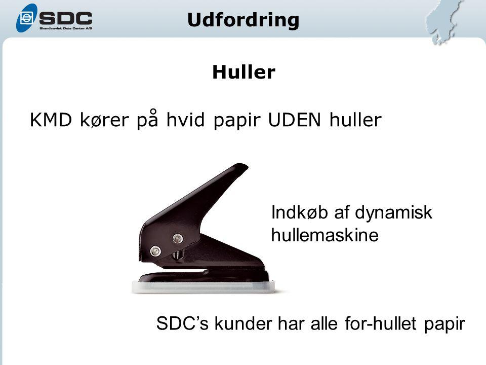 Huller KMD kører på hvid papir UDEN huller SDC's kunder har alle for-hullet papir Indkøb af dynamisk hullemaskine Udfordring