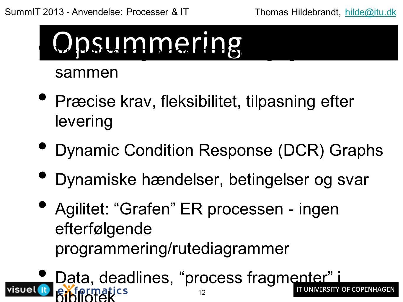 IT UNIVERSITY OF COPENHAGEN SummIT 2013 - Anvendelse: Processer & IT Thomas Hildebrandt, hilde@itu.dkhilde@itu.dk 12 Opsummering Visualisering binder forretning og teknik sammen Præcise krav, fleksibilitet, tilpasning efter levering Dynamic Condition Response (DCR) Graphs Dynamiske hændelser, betingelser og svar Agilitet: Grafen ER processen - ingen efterfølgende programmering/rutediagrammer Data, deadlines, process fragmenter i bibliotek