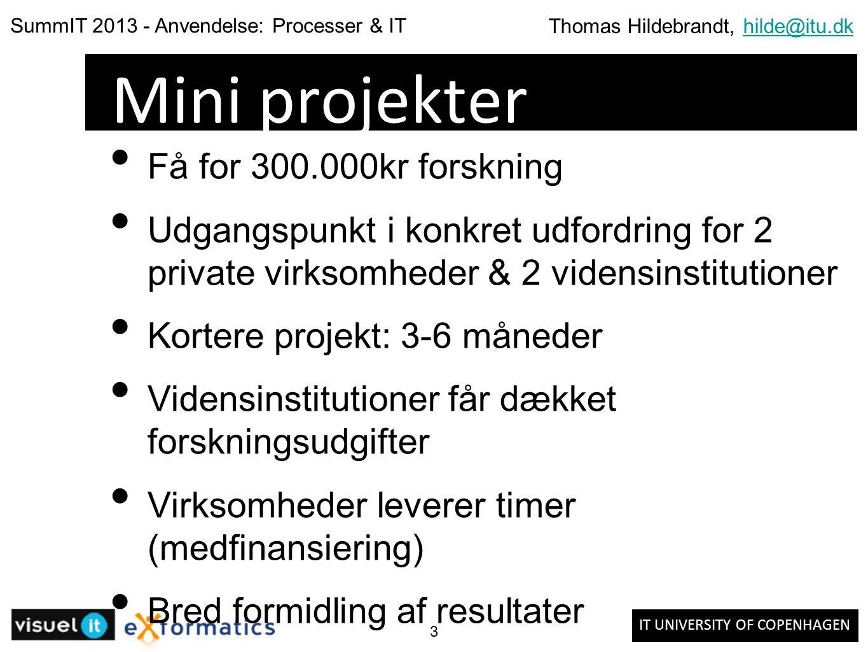 IT UNIVERSITY OF COPENHAGEN SummIT 2013 - Anvendelse: Processer & IT Thomas Hildebrandt, hilde@itu.dkhilde@itu.dk 3 Mini projekter Få for 300.000kr forskning Udgangspunkt i konkret udfordring for 2 private virksomheder & 2 vidensinstitutioner Kortere projekt: 3-6 måneder Vidensinstitutioner får dækket forskningsudgifter Virksomheder leverer timer (medfinansiering) Bred formidling af resultater