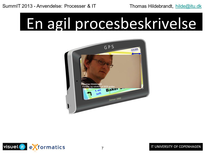 IT UNIVERSITY OF COPENHAGEN SummIT 2013 - Anvendelse: Processer & IT Thomas Hildebrandt, hilde@itu.dkhilde@itu.dk 7 En agil procesbeskrivelse