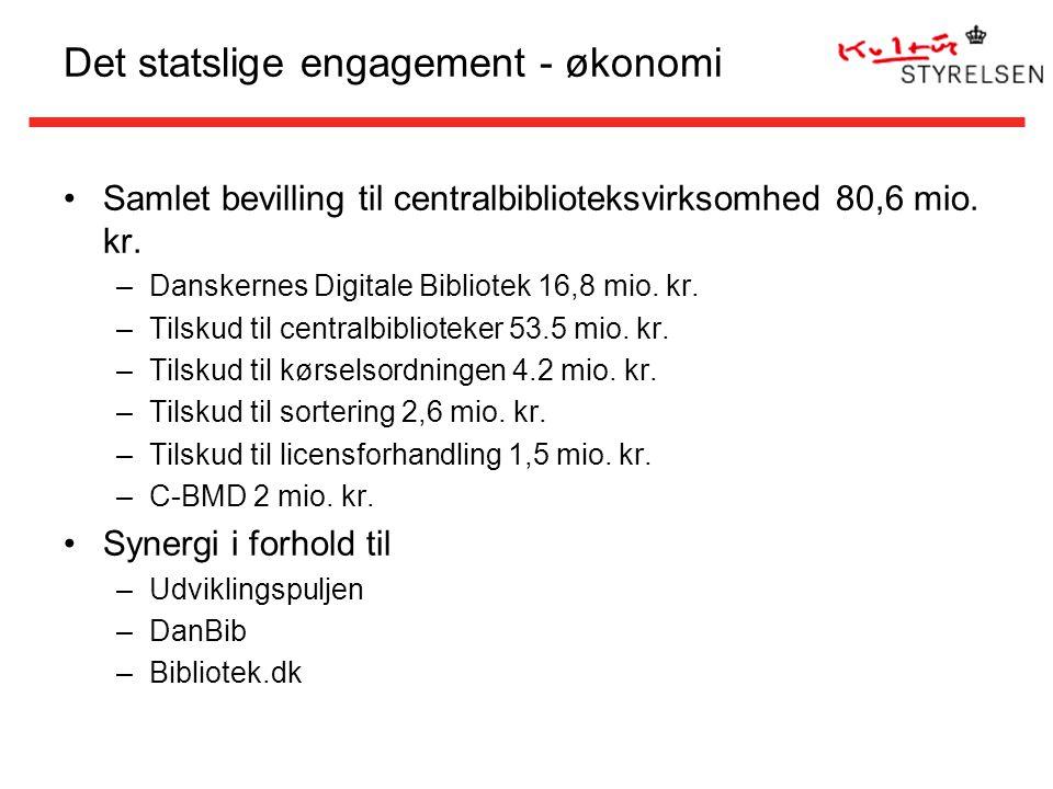 Det statslige engagement - økonomi Samlet bevilling til centralbiblioteksvirksomhed 80,6 mio.