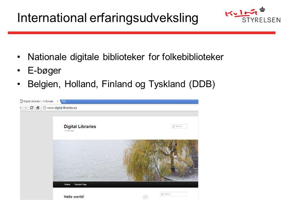 International erfaringsudveksling Nationale digitale biblioteker for folkebiblioteker E-bøger Belgien, Holland, Finland og Tyskland (DDB)