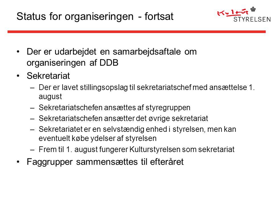 Status for organiseringen - fortsat Der er udarbejdet en samarbejdsaftale om organiseringen af DDB Sekretariat –Der er lavet stillingsopslag til sekretariatschef med ansættelse 1.