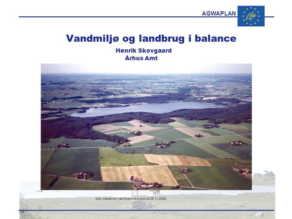 AGWAPLAN IDA- møde om Vandrammedirektivet 28.11 2006 Side 1 · · Vandmiljø og landbrug i balance Henrik Skovgaard Århus Amt
