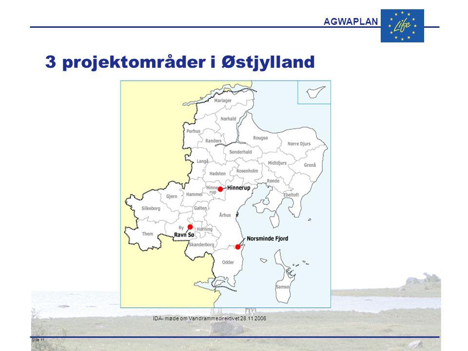 AGWAPLAN IDA- møde om Vandrammedirektivet 28.11 2006 Side 11 · · 3 projektområder i Østjylland