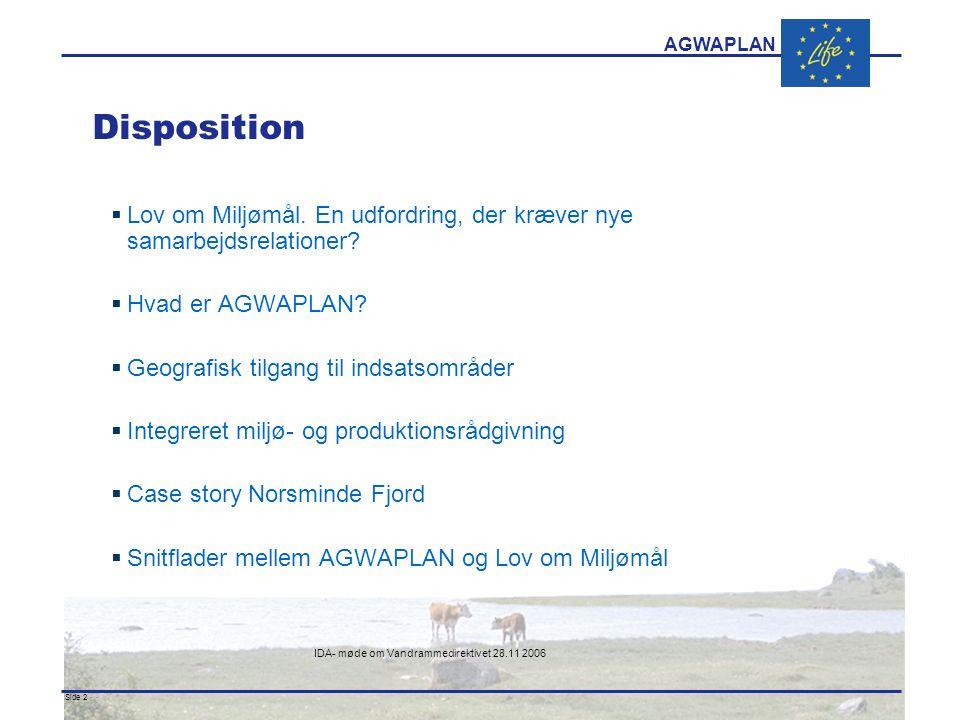 AGWAPLAN IDA- møde om Vandrammedirektivet 28.11 2006 Side 2 · · Disposition  Lov om Miljømål.