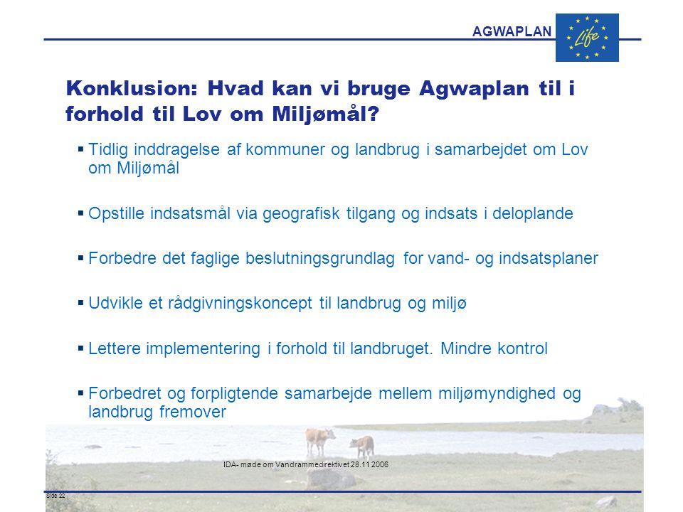 AGWAPLAN IDA- møde om Vandrammedirektivet 28.11 2006 Side 22 · · Konklusion: Hvad kan vi bruge Agwaplan til i forhold til Lov om Miljømål.