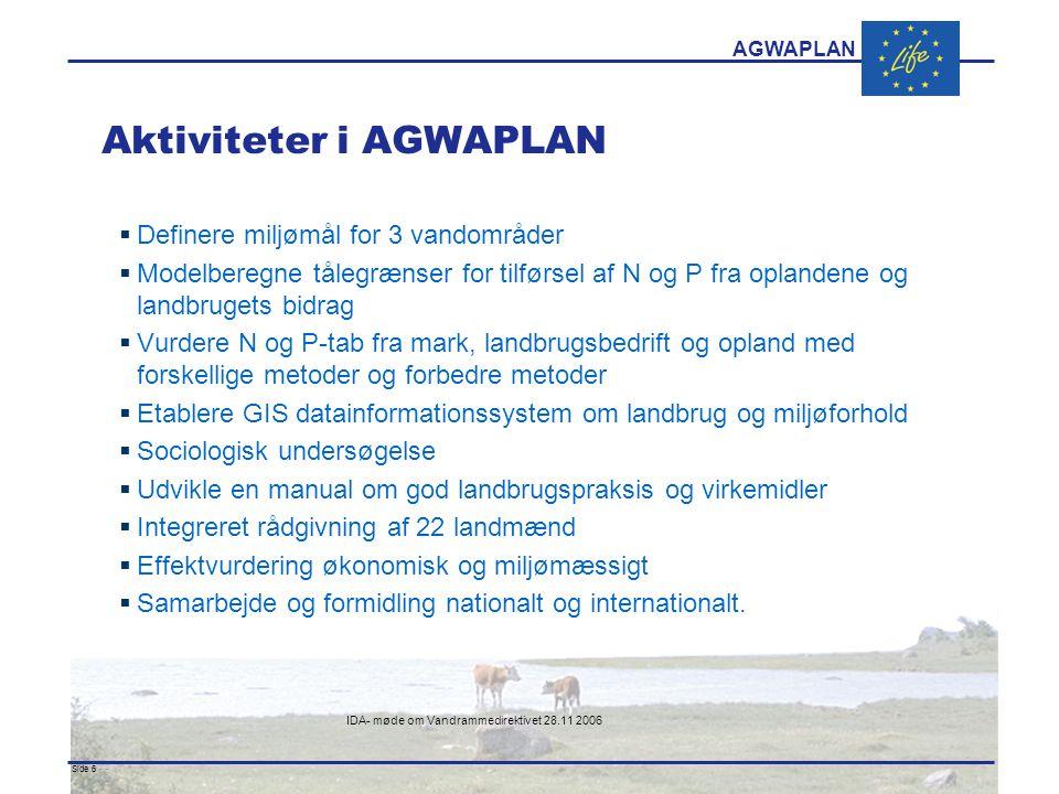AGWAPLAN IDA- møde om Vandrammedirektivet 28.11 2006 Side 6 · · Aktiviteter i AGWAPLAN  Definere miljømål for 3 vandområder  Modelberegne tålegrænser for tilførsel af N og P fra oplandene og landbrugets bidrag  Vurdere N og P-tab fra mark, landbrugsbedrift og opland med forskellige metoder og forbedre metoder  Etablere GIS datainformationssystem om landbrug og miljøforhold  Sociologisk undersøgelse  Udvikle en manual om god landbrugspraksis og virkemidler  Integreret rådgivning af 22 landmænd  Effektvurdering økonomisk og miljømæssigt  Samarbejde og formidling nationalt og internationalt.