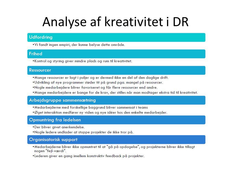 Analyse af kreativitet i DR