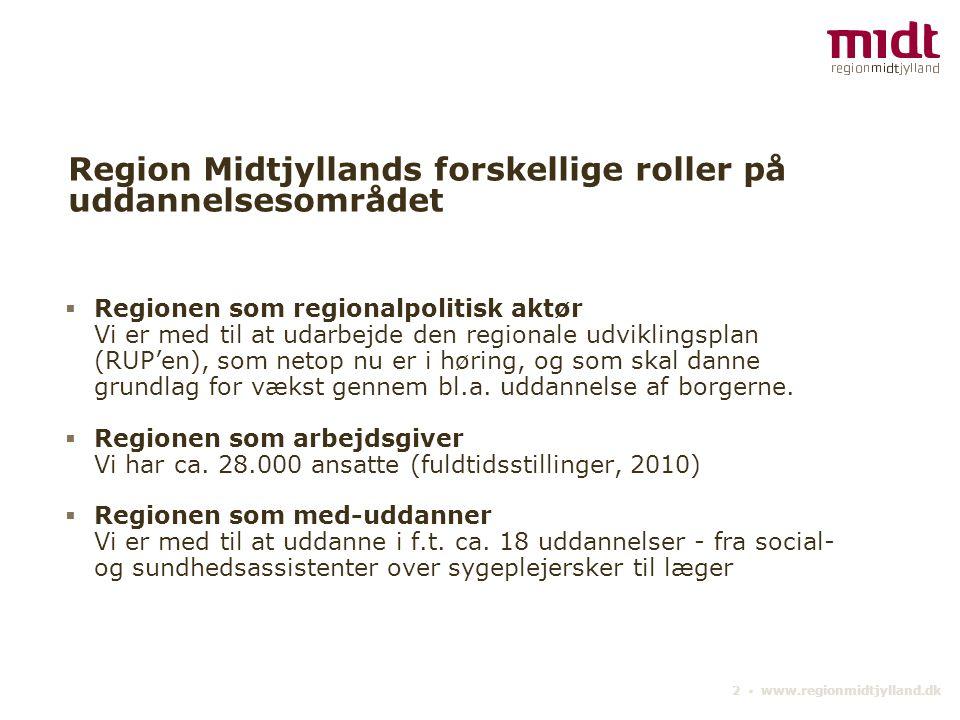 2 ▪ www.regionmidtjylland.dk Region Midtjyllands forskellige roller på uddannelsesområdet  Regionen som regionalpolitisk aktør Vi er med til at udarbejde den regionale udviklingsplan (RUP'en), som netop nu er i høring, og som skal danne grundlag for vækst gennem bl.a.