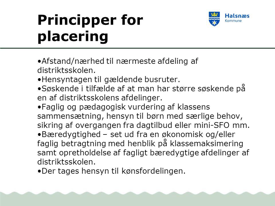 Principper for placering Afstand/nærhed til nærmeste afdeling af distriktsskolen.