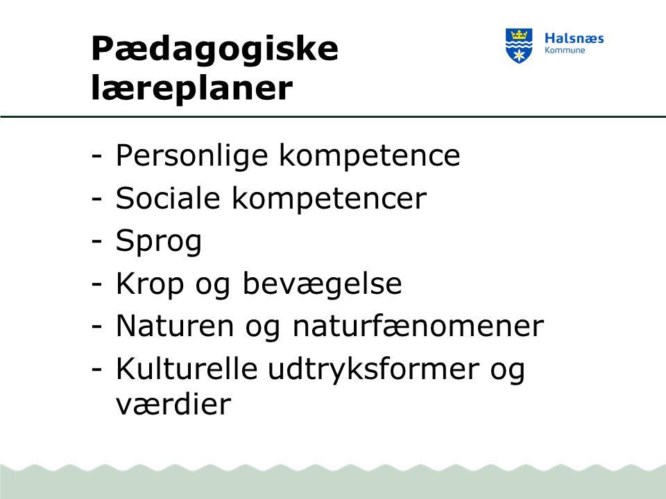 Pædagogiske læreplaner -Personlige kompetence -Sociale kompetencer -Sprog -Krop og bevægelse -Naturen og naturfænomener -Kulturelle udtryksformer og værdier