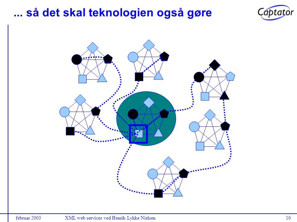 februar 2003XML web services ved Henrik Lykke Nielsen10... så det skal teknologien også gøre