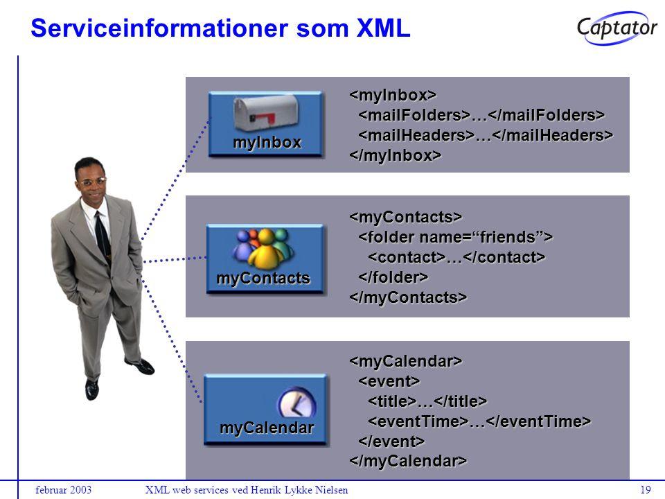 februar 2003XML web services ved Henrik Lykke Nielsen19 Serviceinformationer som XML <myInbox> … … </myInbox> myInbox <myContacts> … … </myContacts> myContacts <myCalendar> … … </myCalendar> myCalendar