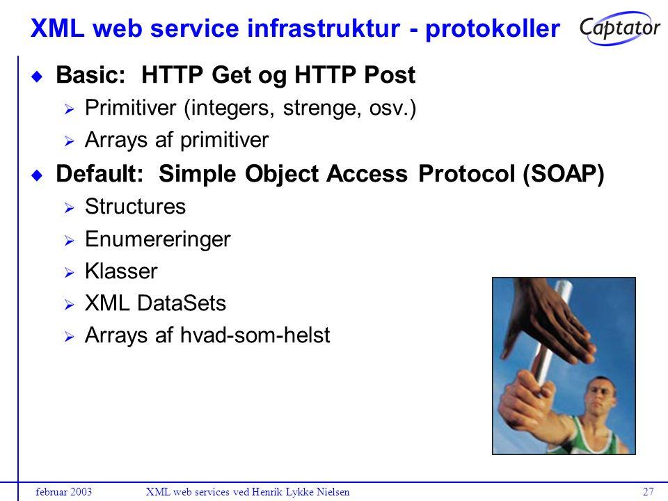 februar 2003XML web services ved Henrik Lykke Nielsen27 Basic: HTTP Get og HTTP Post Primitiver (integers, strenge, osv.) Arrays af primitiver Default: Simple Object Access Protocol (SOAP) Structures Enumereringer Klasser XML DataSets Arrays af hvad-som-helst XML web service infrastruktur - protokoller