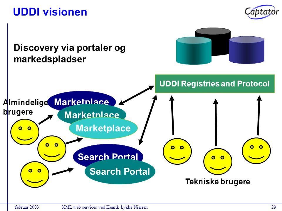 februar 2003XML web services ved Henrik Lykke Nielsen29 Marketplace Search Portal Marketplace Search Portal Marketplace Almindelige brugere Discovery via portaler og markedspladser UDDI Registries and Protocol Tekniske brugere UDDI visionen