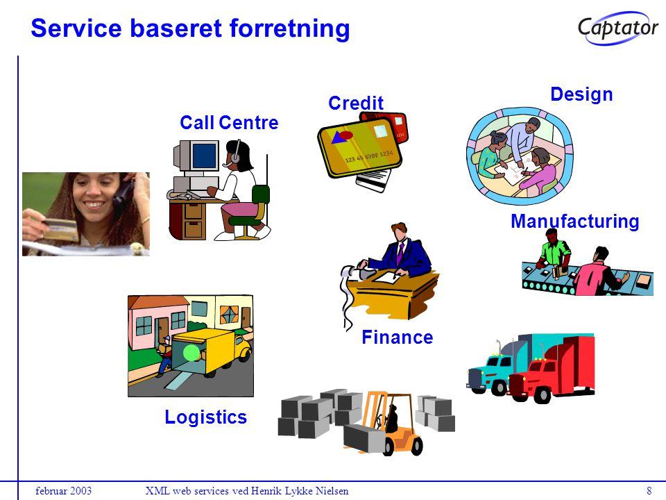 februar 2003XML web services ved Henrik Lykke Nielsen8 Service baseret forretning Logistics Call Centre Credit Design Manufacturing Finance