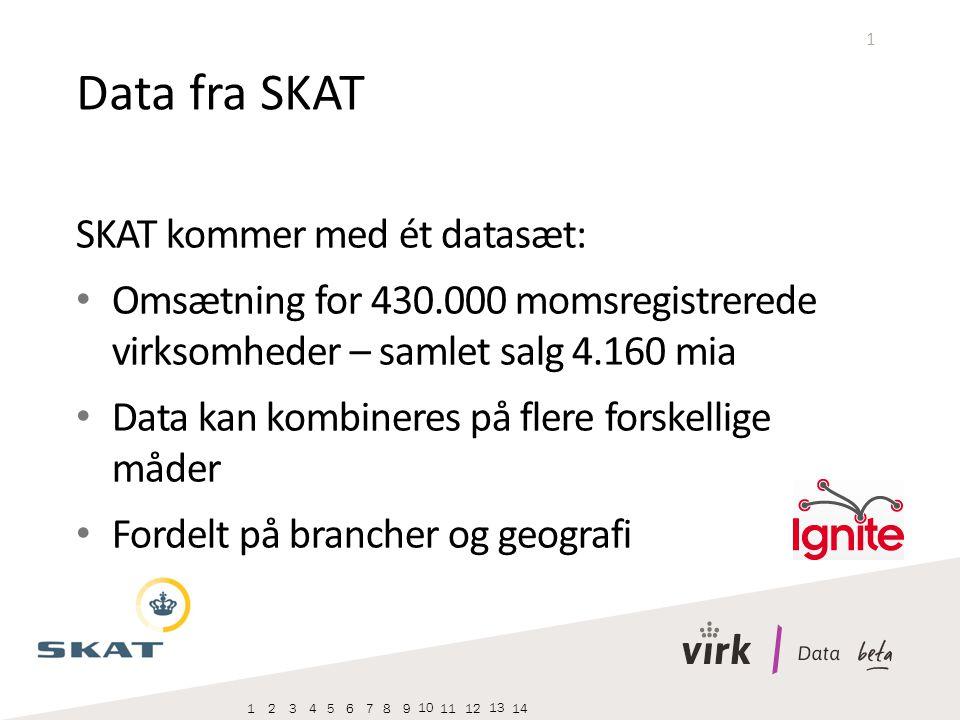 1 SKAT kommer med ét datasæt: Omsætning for 430.000 momsregistrerede virksomheder – samlet salg 4.160 mia Data kan kombineres på flere forskellige måder Fordelt på brancher og geografi Data fra SKAT 123456789 10 1112 13 14
