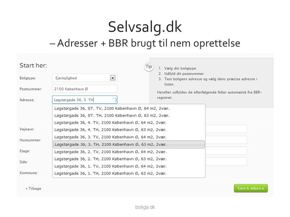 Selvsalg.dk – Adresser + BBR brugt til nem oprettelse boliga.dk