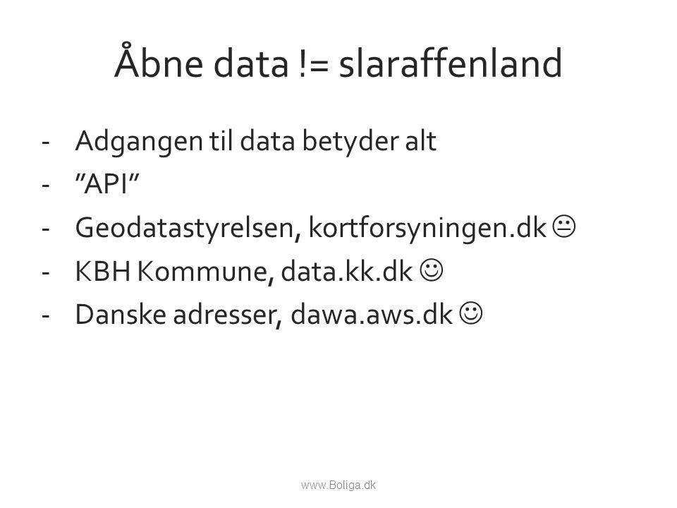 Åbne data != slaraffenland -Adgangen til data betyder alt - API -Geodatastyrelsen, kortforsyningen.dk  -KBH Kommune, data.kk.dk -Danske adresser, dawa.aws.dk www.Boliga.dk