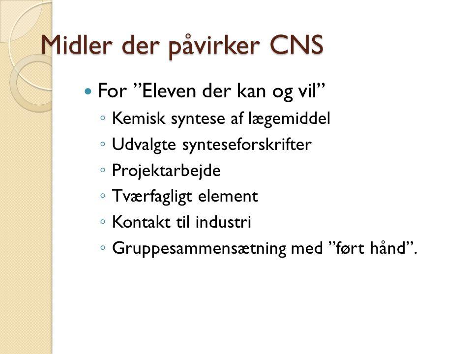 Midler der påvirker CNS For Eleven der kan og vil ◦ Kemisk syntese af lægemiddel ◦ Udvalgte synteseforskrifter ◦ Projektarbejde ◦ Tværfagligt element ◦ Kontakt til industri ◦ Gruppesammensætning med ført hånd .