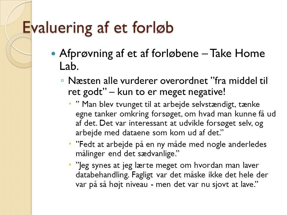 Evaluering af et forløb Afprøvning af et af forløbene – Take Home Lab.