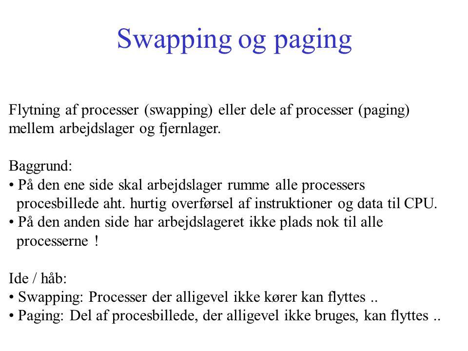 Swapping og paging Flytning af processer (swapping) eller dele af processer (paging) mellem arbejdslager og fjernlager.